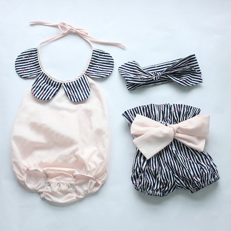 HTB1RaczKXXXXXXxXVXXq6xXFXXXv - 2015New arrival baby toddler summer boutiques baby girls vintage floral ruffle neck romper cloth with bow knot shorts headband