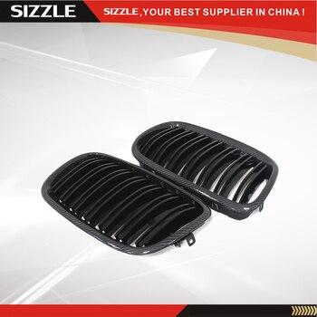 คาร์บอนไฟเบอร์ Dual แผ่นด้านหน้าย่าง Gloss สีดำสำหรับ BMW X5 E70 & X6 E71 2007 2008 2009 2010 2011 2012 2013
