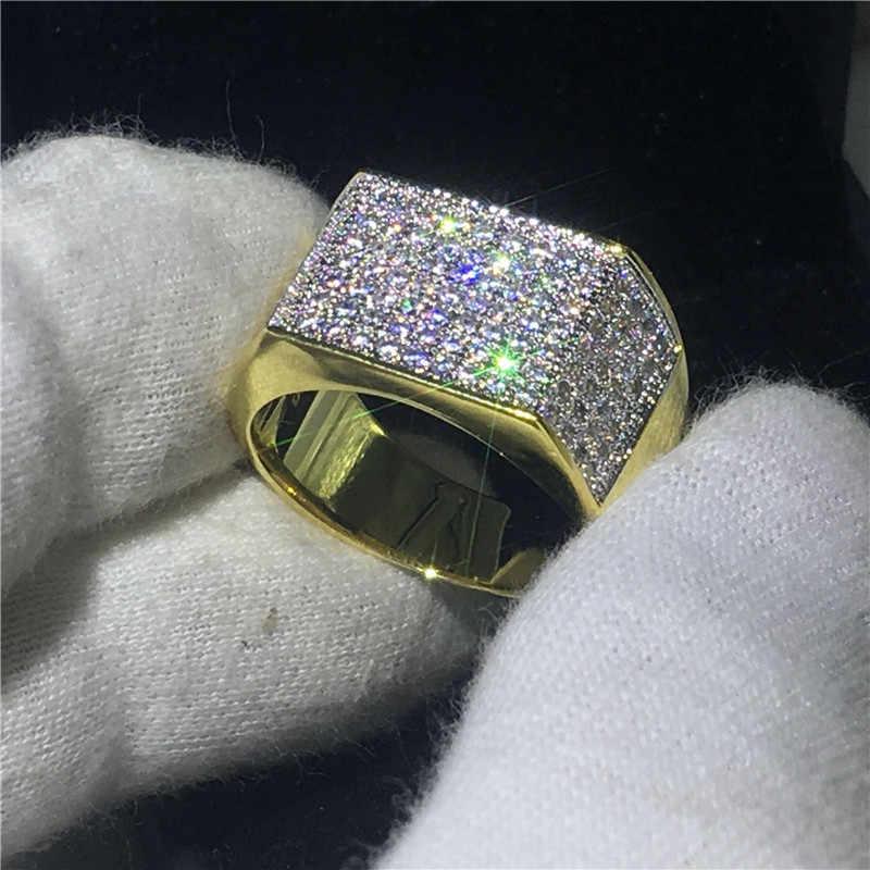 Choucong Moda Hiphop Rocha Anéis Banda For men Pave definindo 119 pcs 5A cz Ouro Amarelo Cheio de zircão 925 Prata anel de Casamento masculino