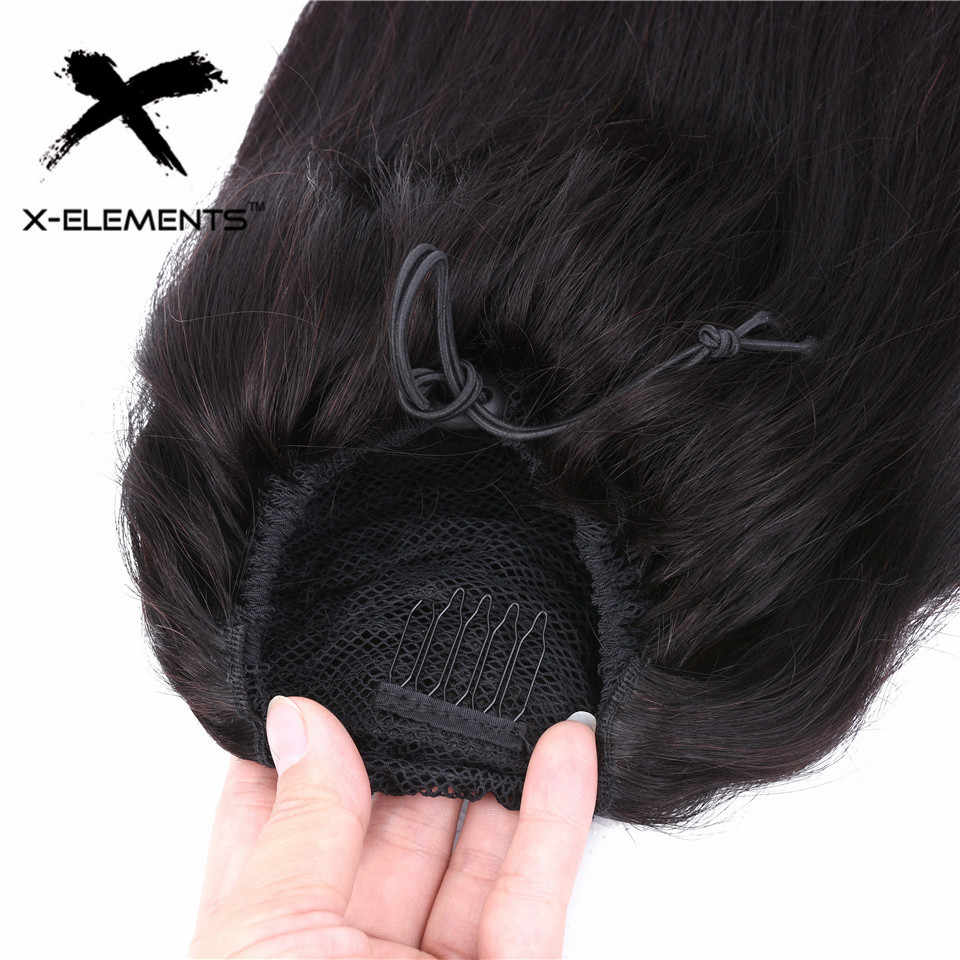"""Straight Ponytail 100% Human Hair Drawstring Ponytail With Clips in For Women Brazlian Remy Hair Extension12""""-22"""" Natural Color"""
