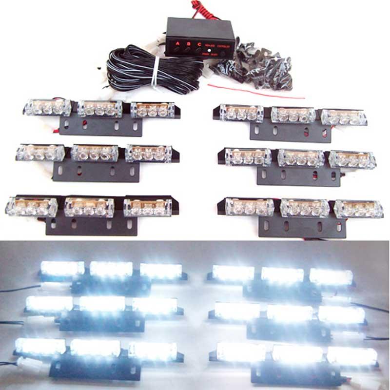 AMBER WHITE Free shipping Set Yellow 54 LED Flashing Emergency Strobe   Flash Light for Car Vehicle