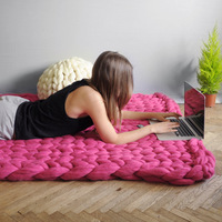 Grande Punto Large Blanket Merino wool Bulky Knit Throw Chunky Sofa Blanket Hand made Super Large Bed Chair Mat Rug
