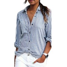MoneRffi Striped Blouse Women Shirts Long Sleeve Turn-Down Collar Button Tops Spring Autumn Casual Vertical Stripes Dress(China)