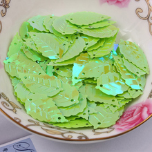 Free shipping 300pcs/lot  13*22mm Leaf with 2 holes sequins Green colors Jewelry Accessories cloth crafts confetti clothing