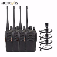 4 יחידות Retevis H777 משדר מכשיר קשר UHF400-470MHz משדר Hf רדיו סט נייד שני רדיו דרך + 4X מיני רמקול מיקרופון