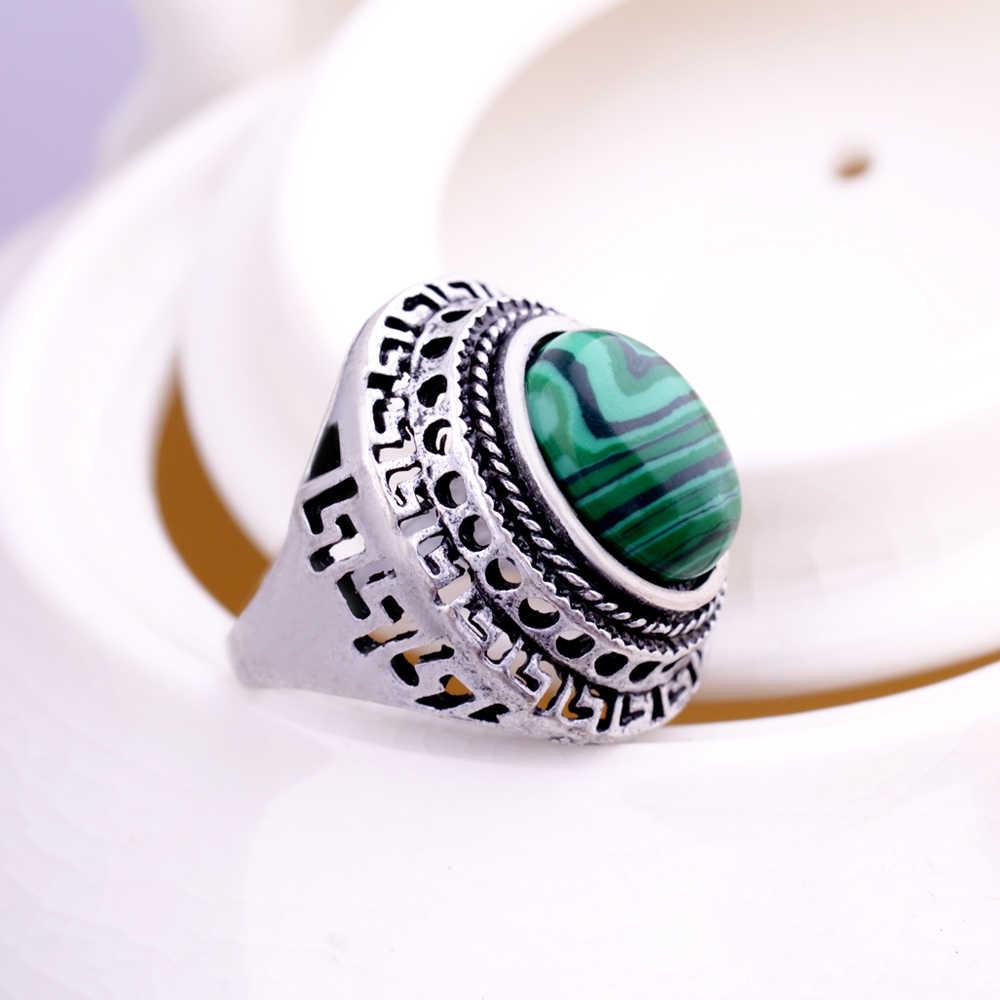หินธรรมชาติ Malachite แหวนเงินโบราณพลอยสีเขียวรูปไข่การตั้งค่า Hollow out ปราสาทผู้ชายทิเบตแหวน