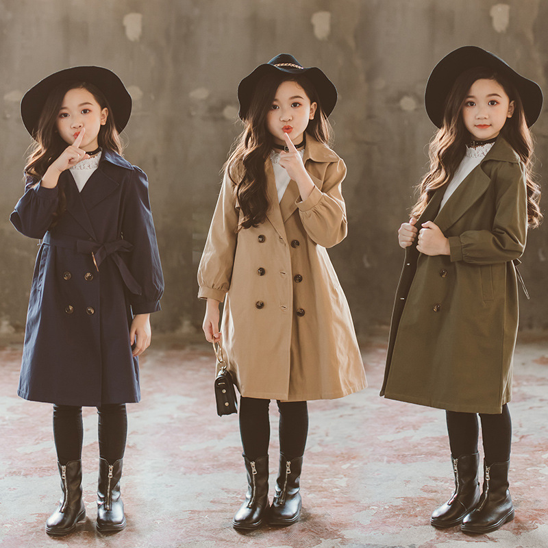 Windbreaker Girls Jacket Outerwear Kids Coats Children Teenage Double-breasted Jackets 3~16Y Spring Autumn   Trench   Outfits CA173