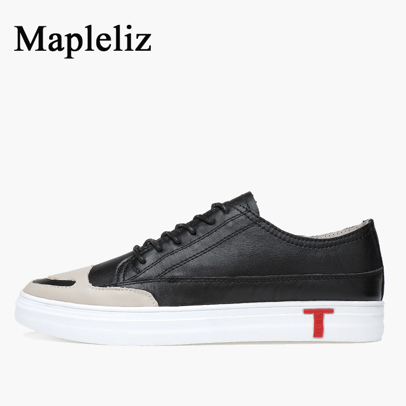 Mapleliz Brand Men Casual Shoes Black Lace-up Genuine Cow Leather Spring New Big Size Male Flats British Style Shoes for Men top brand high quality genuine leather casual men shoes cow suede comfortable loafers soft breathable shoes men flats warm