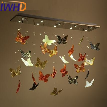 IWHD Nordic Style Crystal Modern Pendant Lights Creative Color Butterfly Led Pendant Lamp Kitchen Living Room Iron Lampara a1 master bedroom living room lamp crystal pendant lights dining room lamp european style dual use fashion pendant lamps