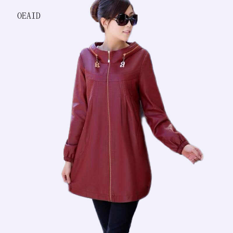 2b9ef41fea1 Plus Size XL 2XL 3XL 4XL 5XL Leather Jacket Women Leather Coat Long 2018  spring Winter