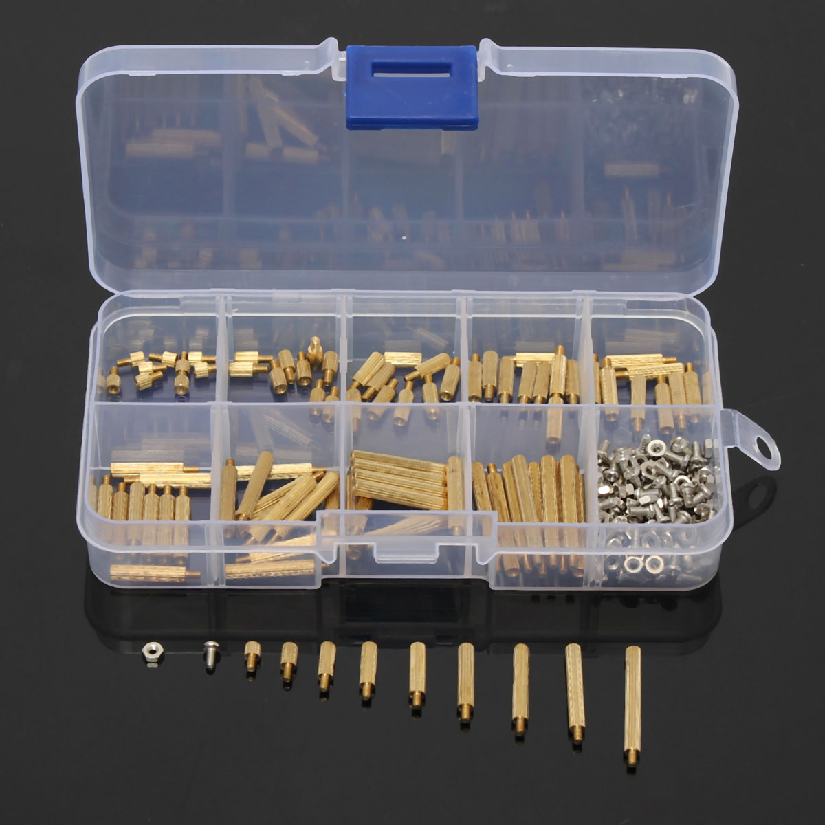 270pcs/Set M2BT1 M2 3-25mm Male to Female PCB Standoff Brass Screw Nut Assortment Kit Set For Hardware Tools with Plastic Box 230pcs m2 5 2 5mm brass standoff spacer male x female with m2 5 6 pan head screws and m2 5 hex nut assortment kit
