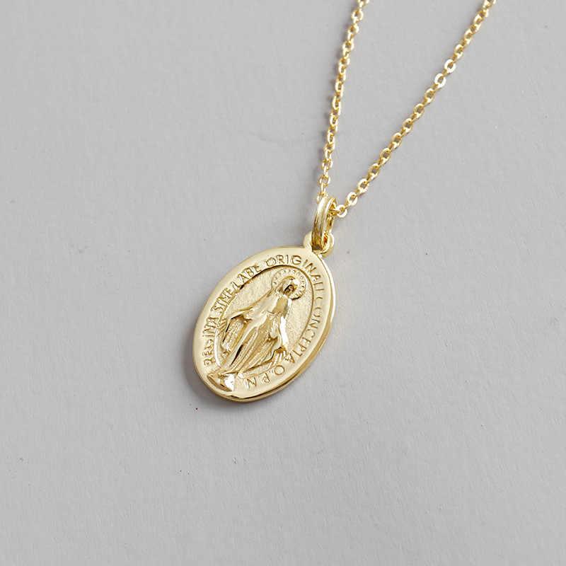 แท้ 925 เงินสเตอร์ลิง Golds Virgin Mary/เทพธิดา/Holy Mother รูปไข่เหรียญสร้อยคอจี้เครื่องประดับ TLx345