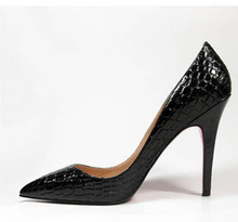 2016 marke Designer Sexy Pumpt Echtes Leder High Heels Schuh Krokodilkorn Spitz Sandalen Partei Braut Schuhe Schwarze Pumps