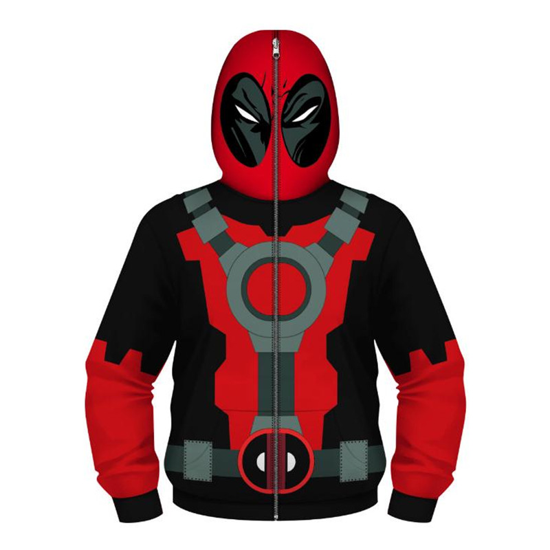 Spiderman Deadpool Cosplay Costume Boy Anime Printed Tops Hoodies Sweatshirt Christmas Party Halloween Costume For Kids