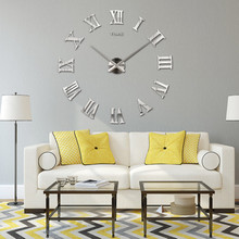 DIY Roman Numerals Large Wall Clocks Stickers 3D Big/Small Mirror Clock 2017 Home Decoration