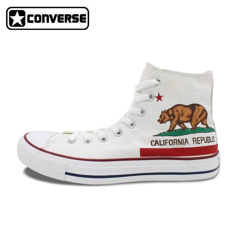 Prix pour D'origine Converse All Star Planche À Roulettes Chaussures Hommes Femmes NOUS Californie Drapeau Conception Peint À La Main Blanc Sneakers livraison gratuite