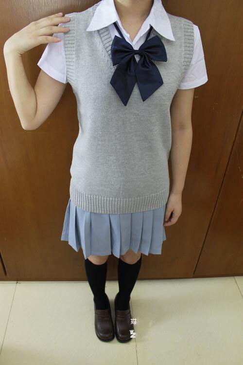 Cosplay K-ON Qollu sviter Vest geyimlər V-boyunlu Yapon Liseyi forma - Qadın geyimi - Fotoqrafiya 5