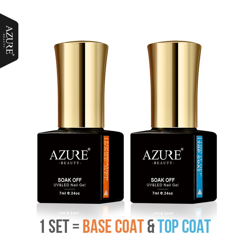 AZURE BEAUTY Base Coat And Top Coat Gel Nail Polish Hybrid Varnish Soak Off UV Led Primer Azure Nail Gel Polish Base Top Coat