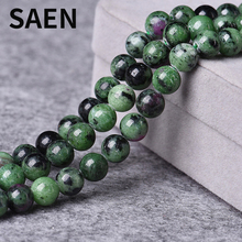 SAEN Naturl Stone Beads Energy Crystal Red Green Stone beads for jewelry making 4-12MM spacer beads wholesale lots bulk