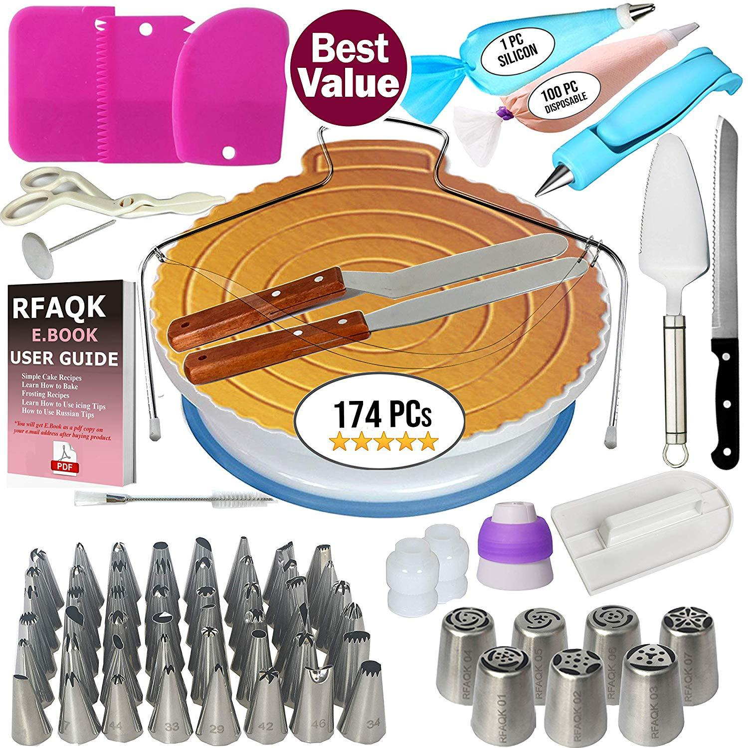 Cake Decorating Tools Kit Icing Tips Turntable Pastry Bags Couplers Cream Nozzle Baking Tools Set for Cupcakes Cookies title=