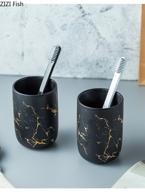 Ceramic imitation marble Bathroom Accessory Set Washing Tools Bottle Mouthwash Cup Soap Toothbrush Holder Household Articles