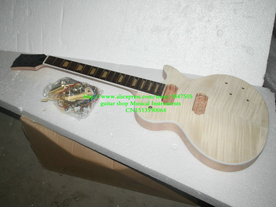 Custom Shop Mahogany Body one piece mahogany neck Unfinished Electric Guitar Kit With Flamed Maple Top with hardware