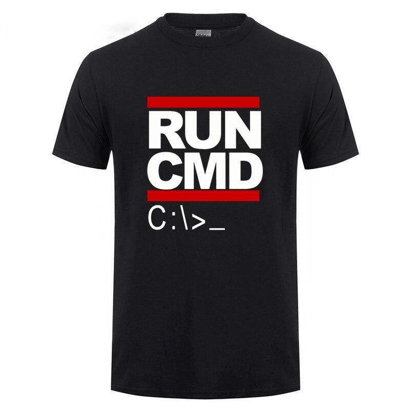 Run Cmd Computer Programmer T Shirts Funny Birthday Gift For Man Boyfriend Husband Summer Short Sleeve Cotton Shirt Geek Nerd