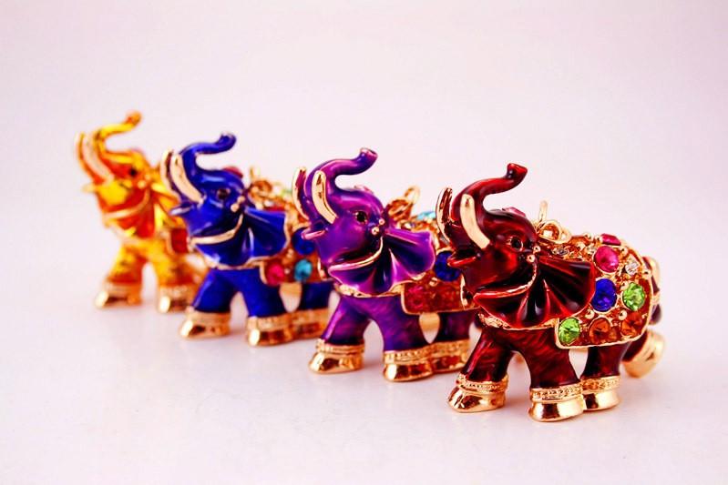 Colorful Enamel Elephant Keychains