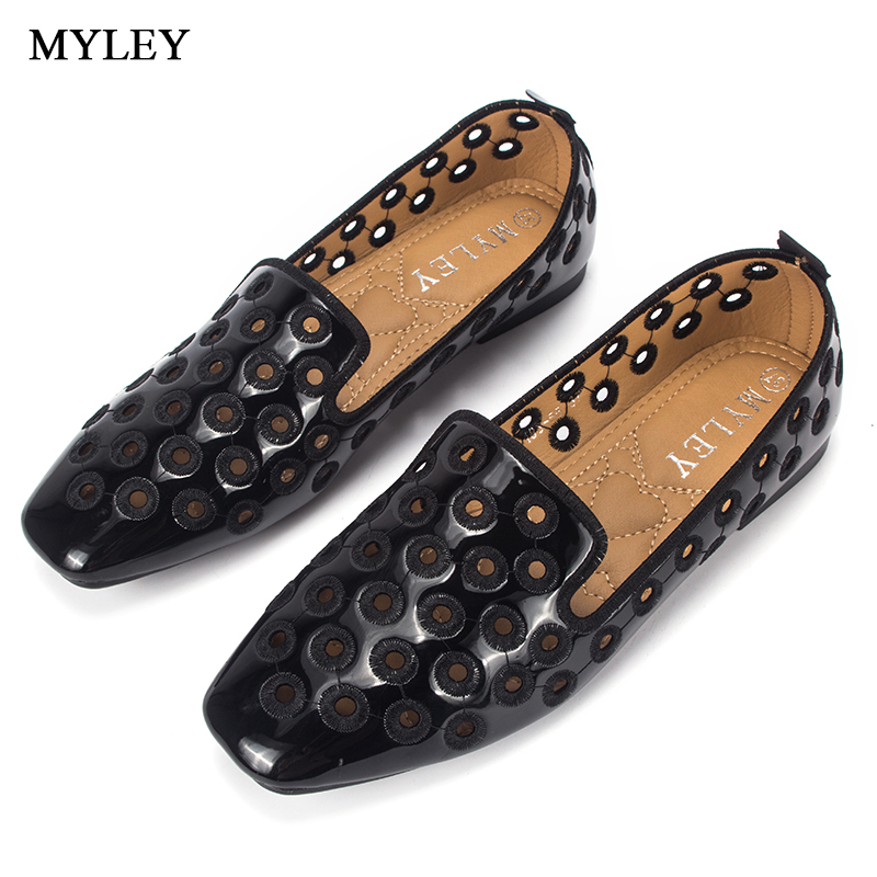 MYLEY Black/Pink Breathable Hollow Out Patent Leather Flats Women Boat Shoes Casual Flat Low Heel Brand Shoes For Women nis women air mesh shoes pink black red blue white flat casual shoe breathable hollow out flats ladies soft light zapatillas
