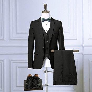 Men's suit set three-piece fashion Slim men's business dress professional wear wedding groom groomsmen dress