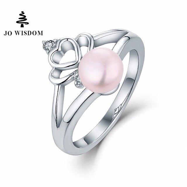 8f530d3bd50e Jo sabiduría 100% 925 anillo de plata para las mujeres anillo de boda con  perlas