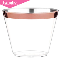 100 Rose Gold Plastic Cups 9 Oz Disposable Gold Rimmed Plastic Tumblers For Party Holiday Wedding and Occasions Fancy Party