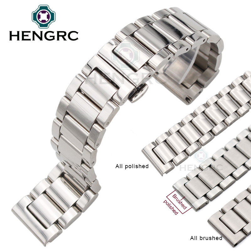18 20 21 22 23 24mm Metal Watch Band Strap Men High Quality Stainless Steel Watchband Link Bracelet Double Fold Deployment Clasp high quality lowest price wholesale kz 19 pneumatic combination steel metal strapping packing machine for 19mm steel strap tape