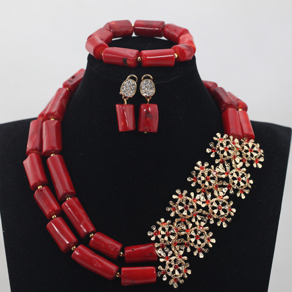Fashion Gold Jewelry Set Newest Coral Beads Necklace Set Free Shipping Handmade Design QW914