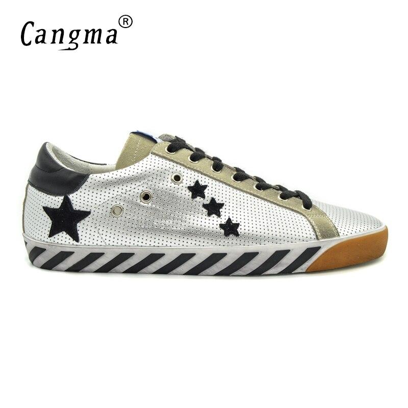 CANGMA Argento Superstar Hombres Zapatos de Cuero Genuino de la Alta Calidad Dur