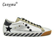 CANGMA Superstar Argento Men Shoes High Quality Genuine Leather Durable Male Casual Silver Stella Shoes Sapatilha Licht Schoenen