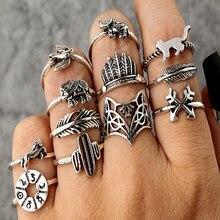 Tocona 12pcs/Set Bohemia Antique Silver Arrow Elephant Fox Lion Pony Pattern Carved Animal Rings Sets for Women Jewelry 4676