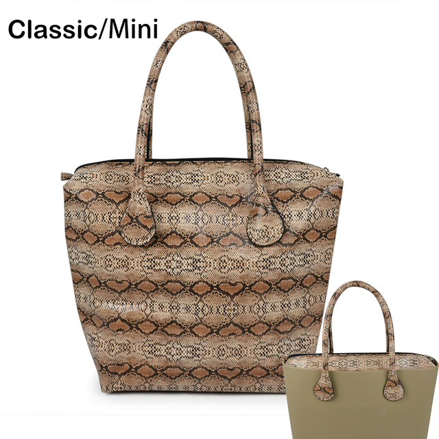 Waterproof Faux Snakeskin Leather Serpentine Insert Inner Plus Handle Combination For Classic Mini Obag O Bag