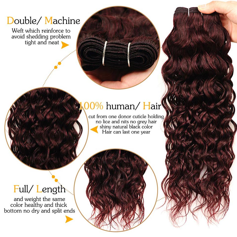 Pinshair Water Wave Hair Dark Red Peruvian 4 Bundles With Closure Burgundy Wet Wavy Non Remy Water Wave Human Hair With Closure