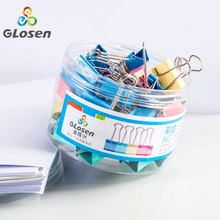 Binder Clips 40pcs/barrel Price Cheap Colored Stationery Binder Clip Small size 19mm for Office File School Supplies Glosen