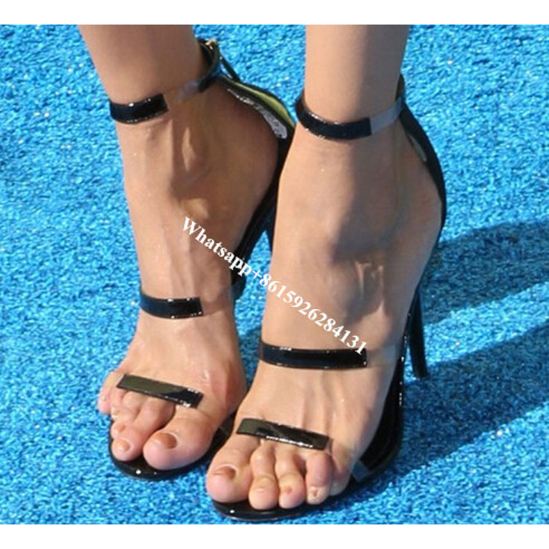 ФОТО Frontline PVC Straps Sexy Runway Dress Shoes Kardashian'S Style Spike High Heels Black/Silver Women Gladiator Sandals Shoes