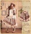 Vintage Bohemian Japanese Retro Plaid Ruffle Patchwork Rockabilly Tunic Floral Print Vetement Femme Thick Winter Autumn Skirt