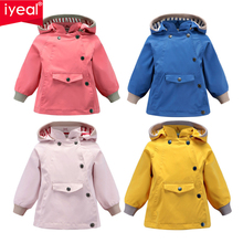 IYEAL Newest Boys Girls Waterproof Hooded Jackets With Pocket Cotton Lined Windbreaker Rain for Children Kids Clothes