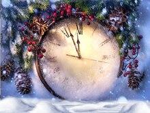 Рождество фото фонов напечатаны с гигантские часы Искусства ткани фон для студия дети фотографии фоны D-9894