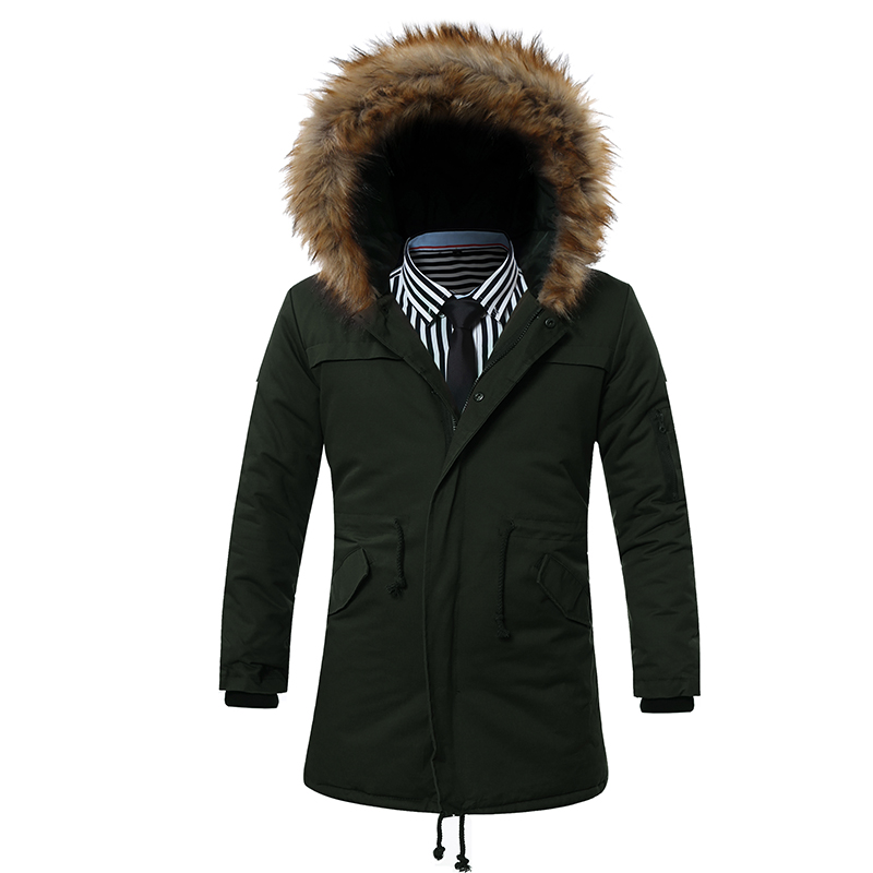 New Winter jacket men Thick warm long section  fur collar hooded parka 2016 new high quality windproof cotton jacket coat