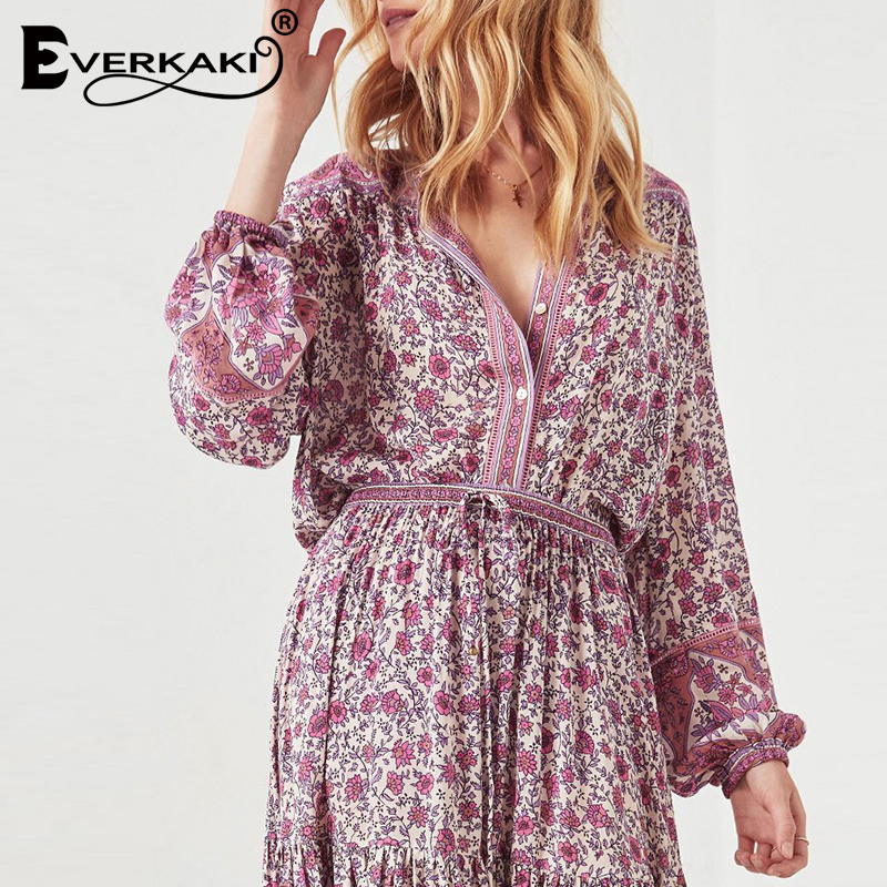 Everkaki Rosy Red Boho Blouse Women Shirts Jasmine Floral Print Long Sleeve Shirt Cotton Bohemian Women Tops And Blouses 2019