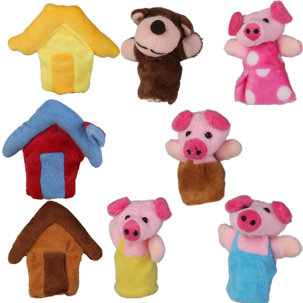 Kids 8pcs/set Three Little Pigs Finger Puppets Nursery