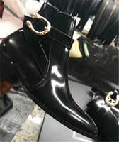 Real Picture Handmade Skull Rivet Buckle Strap Patent Leather Luxury Men Wedge Ankle Boots Pointed Toe