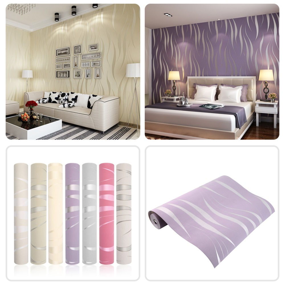 10M Home Improvement High-End Luxury 3D Wave Flocking Wallpaper Rolls new arrival home improvement