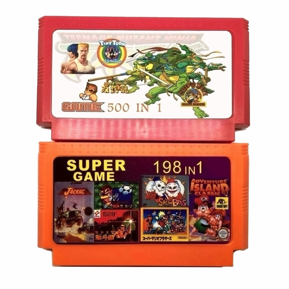 Hot Sale 2 Piece Game Collection (500 In 1 + 198 In 1) 60 Pins Game Cartridge For 8 Bit Game Console With Nija Contra DK Etc.